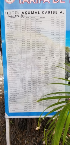 Taxi price list in town